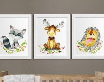 Nursery woodland printable set of 3 wall art, baby room decor elk hedgehog and raccoon kids room prints download, woodland nursery art