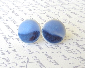 SALE! Medium Porcelain Earrings. Blue-on-Blue. Round. Cornflower. Denim. Light Blue. Periwinkle. Ceramic. Studs. Surgical Steel. Minimalist