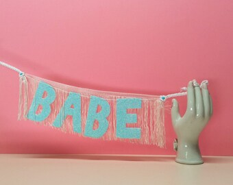 Babe Glittering Fringe Banner   wall hanging, glitter banner, dorm decor, party decor, party banner, besties gifts, babe banner, sign