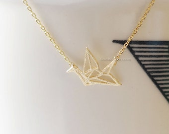 Gold origami Crane Necklace, Crane necklace in gold, necklace for women, fashion jewelry, Gift for her / girlfriend gift / bridesmaids gift