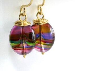 Multi-Colored Glass Earrings - 'Encyclopedic Dumbo'