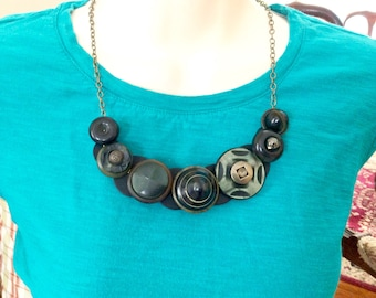 Deco Indulgence button necklace