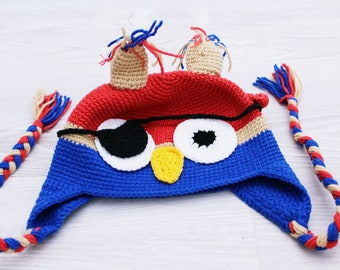 READY TO SHIP, Crochet animal hat, Pirate Owl Hat, pirate costume, owl costume, animal hat, crochet hat, Size Newborn