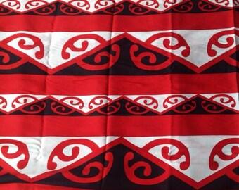 Maori Print Fringe less  Full size Beach Sarong/Pareo/Tupenu.