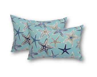 Set of 2 - Nautical Starfish - Aqua, Grey/Gray, White, Navy -- Indoor / Outdoor Lumbar / Rectangle Pillows