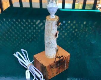 Live Edge Birch Desk Lamp on Reclaimed Base