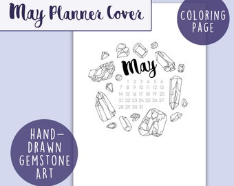 May 2018 Calendar Coloring Page   Journal & Planner Cover, A5 Printable Insert, Digital Download, Gemstone Coloring for Adults, PDF Calendar