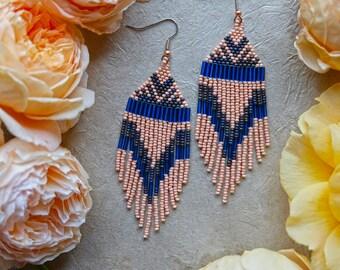 Blush Pink Native American Beaded Earrings / Fringe Earrings / Blue / Statement Jewelry / Shoulder Duster / Boho Style / Woven Earrings