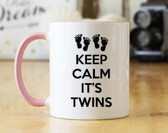 Keep Calm It's Twins (Footprints) 11 oz Coffee Mug or Cup - Choice of Mug Colors - Great Twin Pregnancy Reveal or Gift for Twins (OHC136BP)
