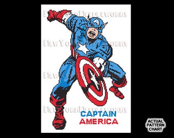 Captain America Cross Stitch, Captain America, Vintage Comic Book Characters, Cross Stitch, Comic Book Heroes by NewYorkNeedleworks on Etsy