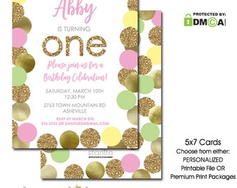 Pink Green Gold Birthday Invitation, 1st Birthday Invitation Pink Green Gold Glitter, First Birthday Invitation Girl Printable, ANY OCCASION