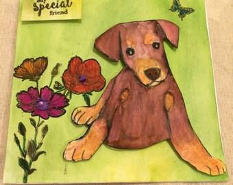 Handmade cute puppy card