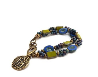 Boho Multistrand Charm Bracelet - Cobalt Blue & Green - Picasso Glass Rectangle  Beads - Ancient Coin Charm - Layering Stacking Bracelet