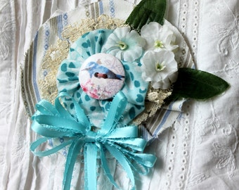 turquoise brooch,turquoise cotton fabric yoyo brooch/pin,wood bird button,white flowers,blouse,jacket,women,teens,spring,summer