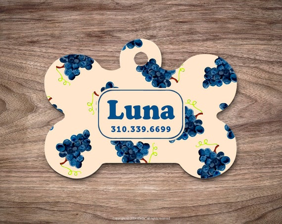 Pet id Tag Dog Tags for Dogs Grapes Dog Tag Personalized Cat Tags Pet Gift Custom Dog Tag Pet Tags Dog Tags Personalized