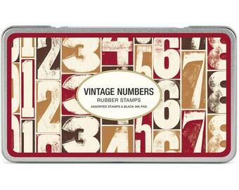 Cavallini Vintage Numbers Rubber Stamp Tin Set x 10 - Wedding DIY / Craft Tags