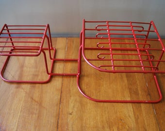 Large Vintage Dish Rack - Red - Rubber Coated Wire - 1950's - Kitsch - Retro