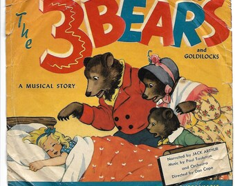 The 3 Bears and Goldilocks A Musical Story Peter Pan Records 78 RPM 1955 Manufactured by Synthetic Plastics Co.