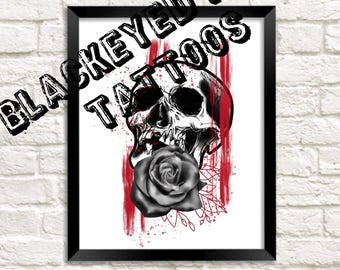 Abstract skull rose painting tattoo art