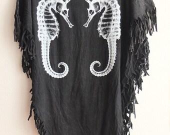 seahorses fish animal grunge stone wash hippie rock poncho tassel dress