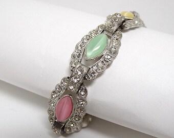 Art Deco Rhinestone & Colorful Pastel Cat Eye Link Bracelet - Art Deco Bracelet - Pastel Bracelet - Link Bracelet - 1930s - Vintage Jewelry