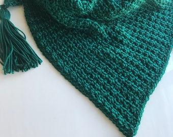 Triangle scarf, crochet scarf, vegan scarf,