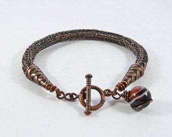 Copper Viking Weave Bracelet, Viking Knit Bracelet, Norse Jewelry, Viking Gift, Rustic Bracelet, Woven, LARGE/EXLARGE, Shieldmaiden Bracelet