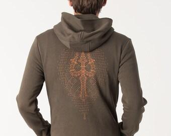 Men Hoodie Jacket Psychedelic Screen Printed Zip Hoodie Burning Man Festival Hoodie Visionary Art Hoodie Mens Clothing Urban