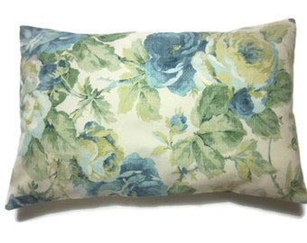 Decorative Lumbar Pillow Cover Shades of Blue Green Pale Yellow Cream Same Fabric Front/Back Toss Throw Accent 12x18 inch