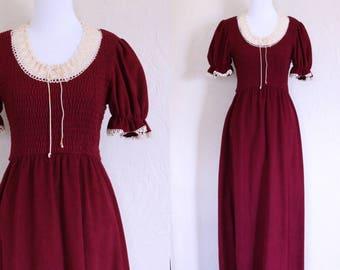 Union Label Dress Prairie Dress Winter Maxi Dress Long Burgundy Dress Fleece Crochet Empire Waist Boho Short Ruffle Sleeve Cap Sleeve Maxi
