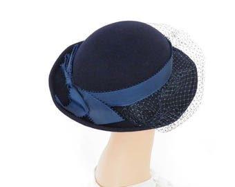Vintage tilt hat, navy blue bowler with veil, Mr. Murray