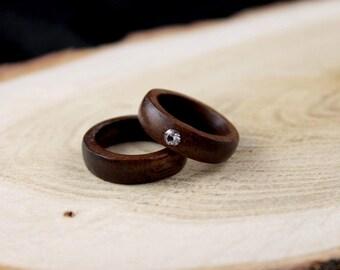 Wood wedding ring, wood wedding ring set, wedding ring, wedding band, wedding rings his and hers, wedding rings for men, wedding rings women