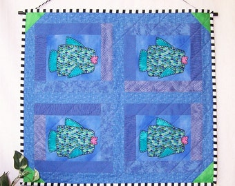 Fish Quartet Quilted Wall Hanging