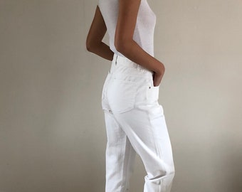 80s High Waisted White Jeans Tapered Leg Made in USA | 28W