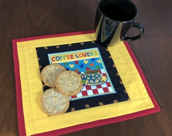 Coffee Lovers Mugrug, Quilted Snack Mat, Coffee Theme Mug Rug, Mini Placemat, Lunch Mat, Handmade Beverage Mat, Mini Quilt, Quilted Mugrug