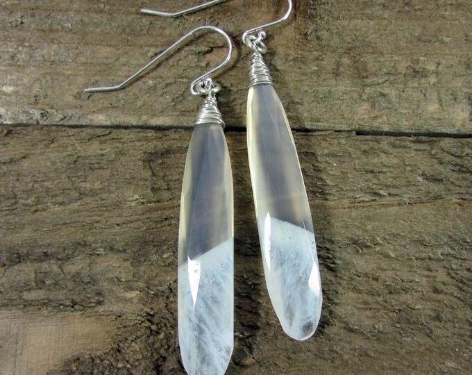 Solar Quartz Long Teardrop Earring, Faceted Gemstone & Sterling Silver Earrings