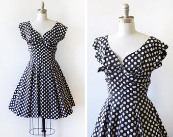 vintage 1960s Suzy Perette dress, 60s black and white polka dot dress, rockabilly full skirt party dress, extra small xs, AS IS