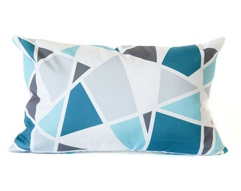 Blue Geometric Lumbar Pillow Cover, teal blue geometric rectangular pillow cover, lumbar geometric pillow cover, blue gray pillow cover