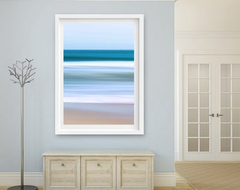 Abstract Ocean Art, Nantucket Artwork, Seascape Photography Nautical Decor Beach Decor Coastal Art Print Teal Blue Beige Living Room Bedroom