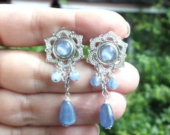 Blue Australian Opal and Blue Kyanite Lotus Plugs 0g