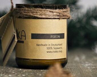 Pirin Tannenduft und Eukalyptus Ätherisches Öl Kerze Duftkerze aus Bio Sojawachs Handmade Geschenk Valentinstag Muttertag Geburtstag 35 Std.