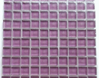 100 (10mm) MINI Amethyst Purple Crystal Glass Mosaic Tiles 3/8 in.//Mosaic Supplies//Mosaic Pieces//Craft Supplies
