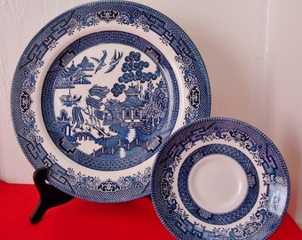 BLUE WILLOW Dinner Plate \u0026 Saucer by CHURCHILL England Vintage Sets of China & Churchill England Blue Willow England Platter Staffordshire