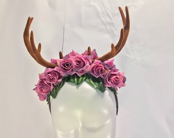 Deer antlers forest goddess fawn pretty pastel horned headdress floral fantasy gothic horn crown