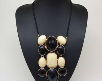 Black white beige bib statement boho bohemian tribal bubble pendant necklace,Black and white necklace,Anthropologie,Extra long pendant