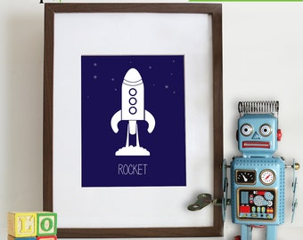 INSTANT DOWNLOAD - Transportation Prints, Rocket Print, Outerspace Print, Aviation,  Item 009