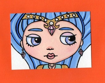 ACEO Original Miniature Painting Blythe doll face Genie Shine from shimmer & shine Art Artist Trading Card