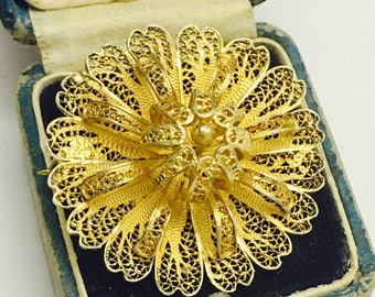 Vintage Sterling Silver Gold Vermiel 3D Flower Brooch - 7.3 Grams