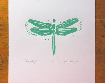 linocut of dragonfly