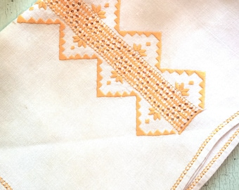 Vintage Linen Runner with Orange Embroidery